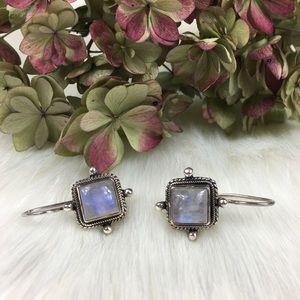 Sterling Silver Square Moonstone Earrings